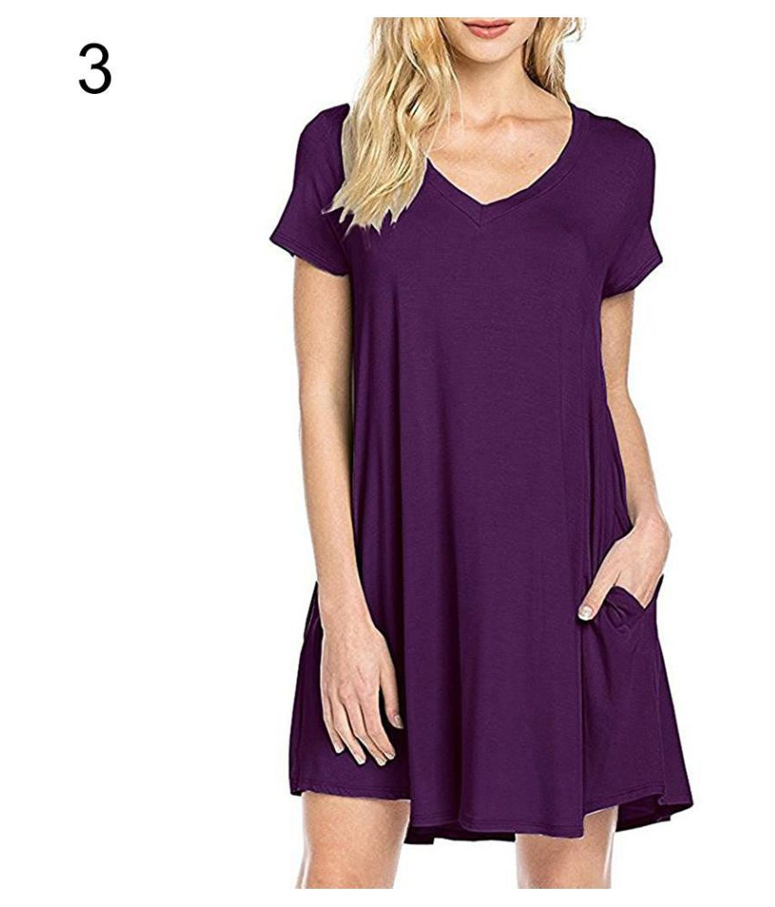 8178d11ccc81 ... Loose V-Neck T-shirt Dress - Buy Women s Casual Simple Plain Side  Pockets Summer Loose V-Neck T-shirt Dress Online at Best Prices in India on  Snapdeal