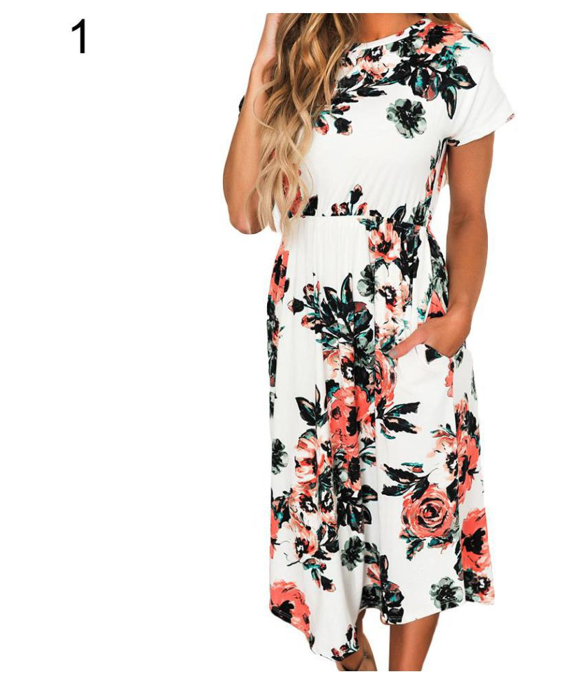 87727cee7b73 ... Women s Fashion Summer Short Sleeve Floral Print Bohemia Beach Midi  Dress