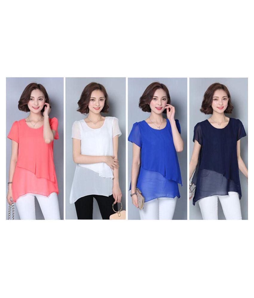 3de14cf88664 Short Sleeve T-Shirt Korean Fashion Women Summer Tops Chiffon Patchwork  Blouse Shirts ...