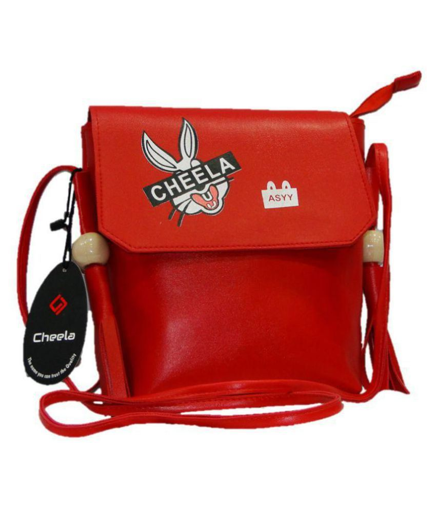 cheela Red Faux Leather Sling Bag