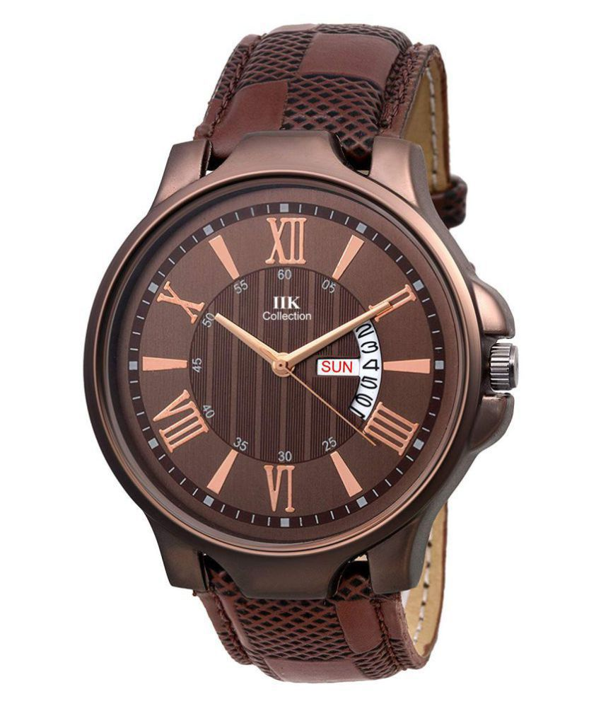IIK COLLECTION IIK 706M DND Leather Analog Men #039;s Watch