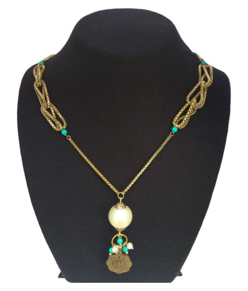 Abhisu Antique Jewellery Copper Golden Traditional Antique Necklaces Set