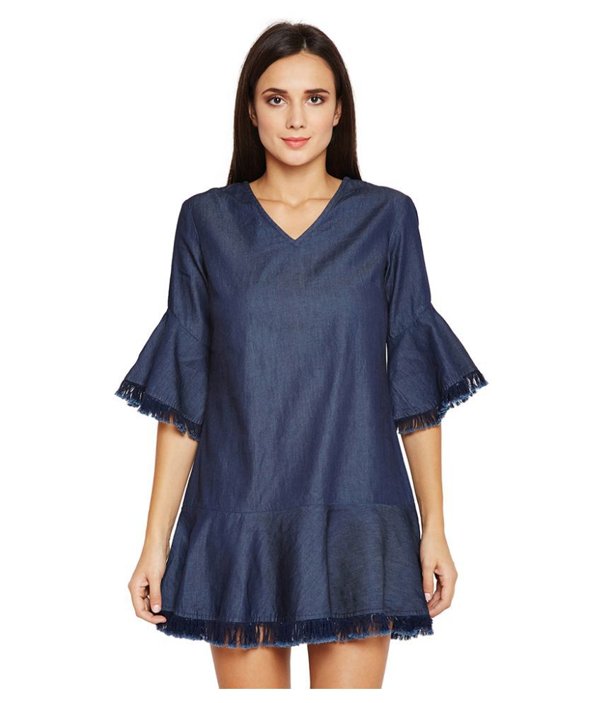 Oxolloxo Cotton Navy A- line Dress