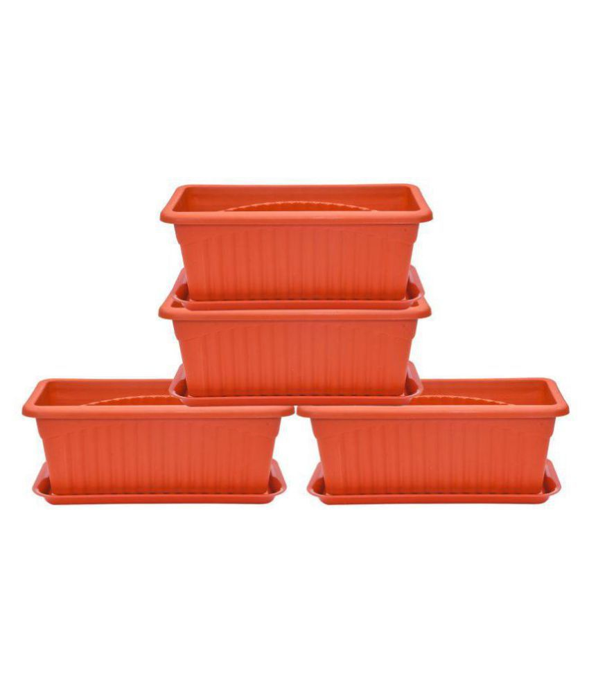 Brecken Paul 5x4x11 Inch Brown Plastic Rectangular Flower Pot With Tray Pots Planter Container
