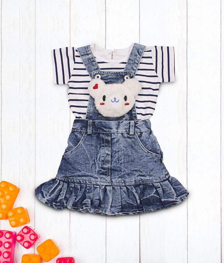 Indian Evergreen Jeans Denim Baby Girls Birthday Party wear dangree daungree dangri Dress Age Group 6 Months to 2 Years
