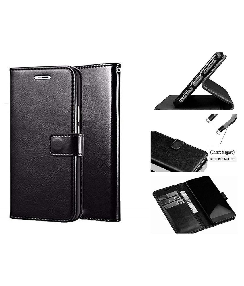 LG Q7 Plus Flip Cover by NKARTA - Black
