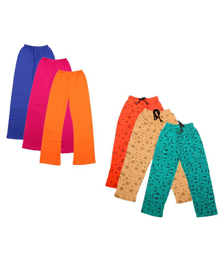 IndiWeaves Girls Warm Woolen Palazzo and Printed Lower for Winters Pack of 6