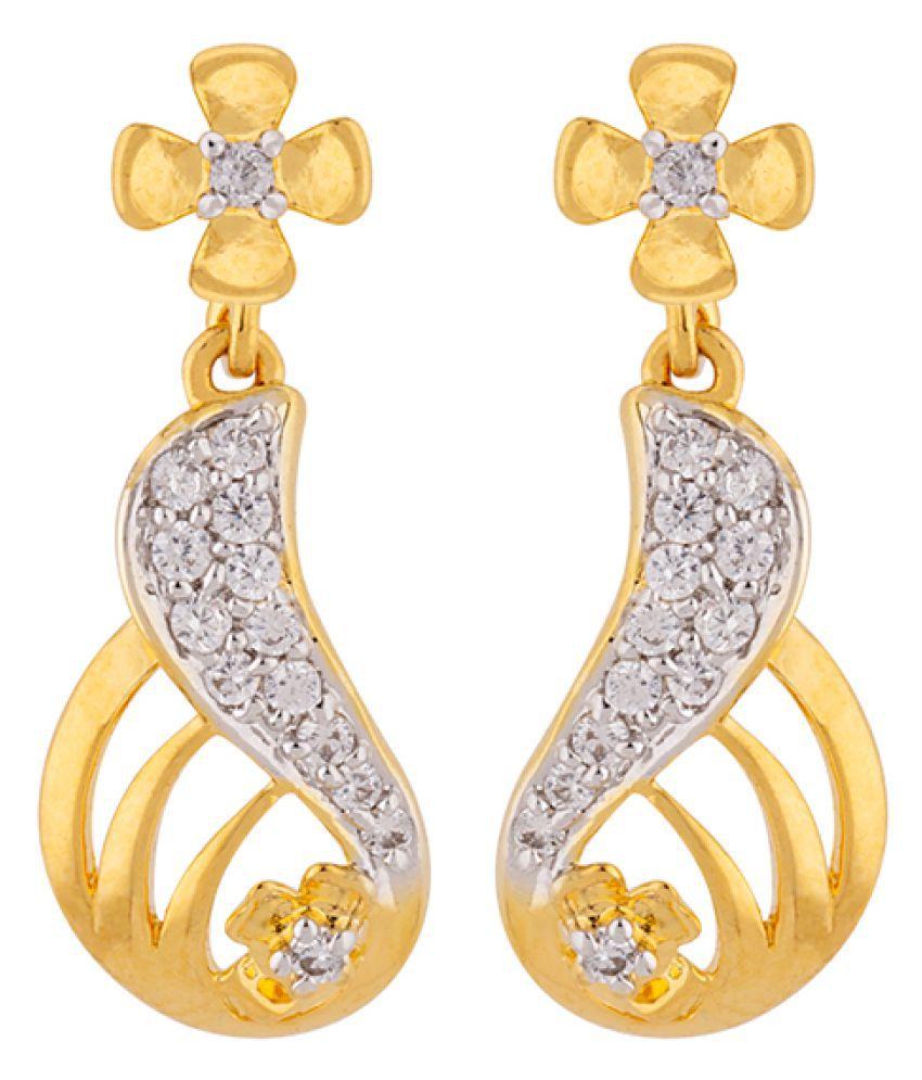 Voylla Tiny Cutwork Brass Earrings