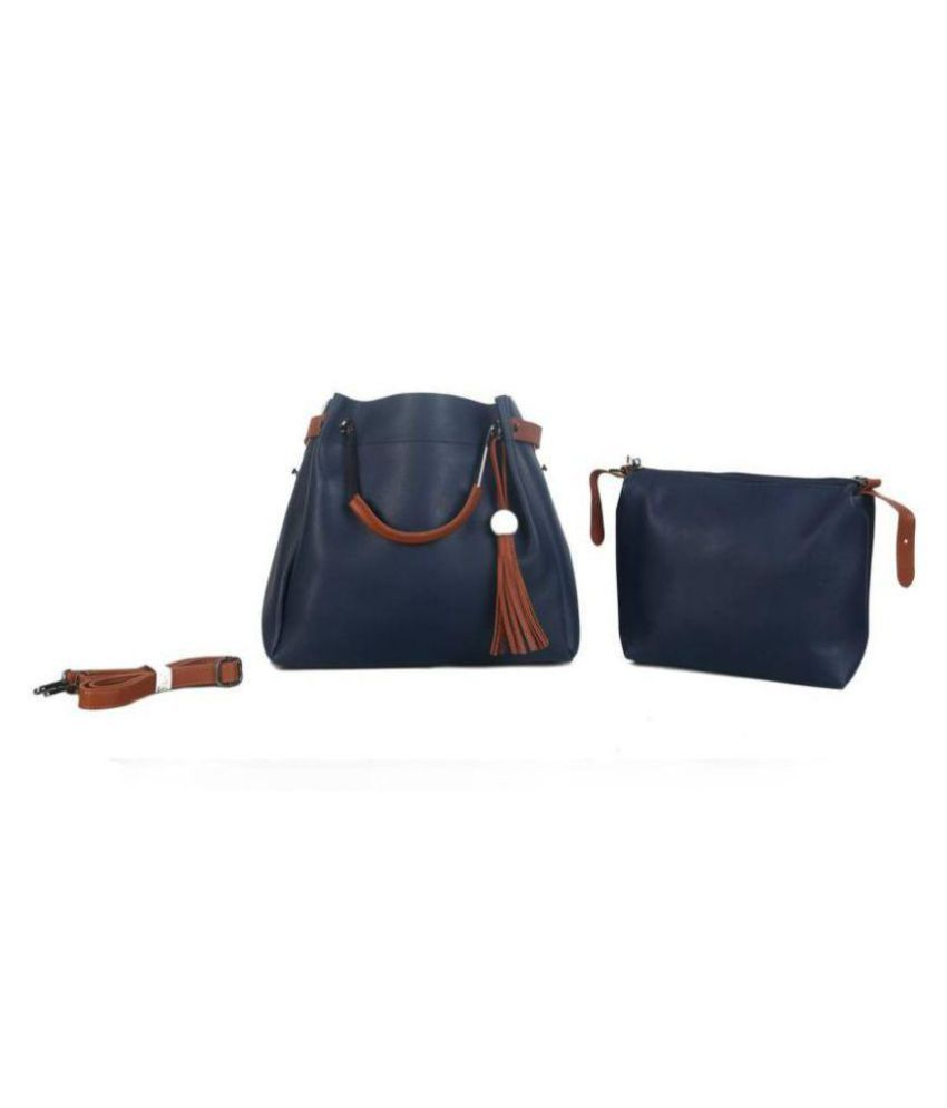 Fiona Trends Blue P.U. Shoulder Bag