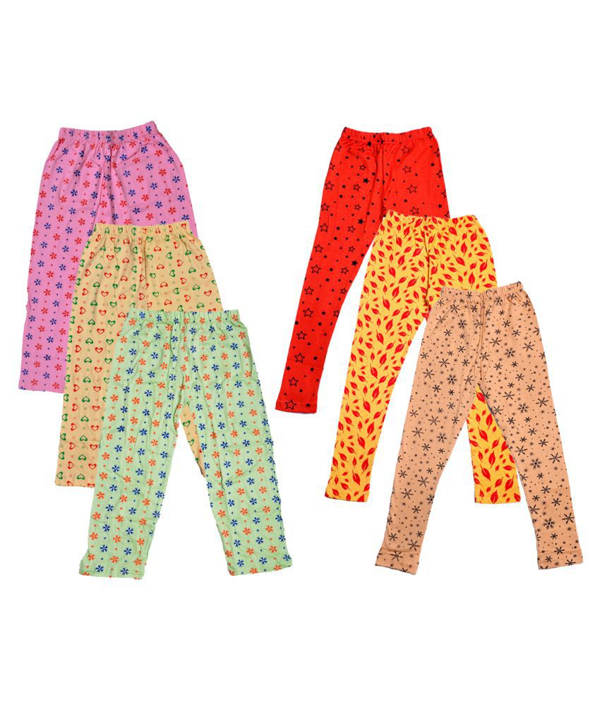 IndiWeaves Girls Cotton Pyjama/Lower and Leggings (Pack of 6)