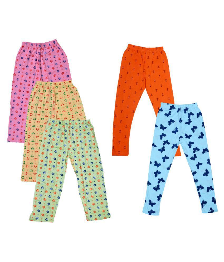 IndiWeaves Girls Cotton Pyjama/Lower and Leggings (Pack of 5)
