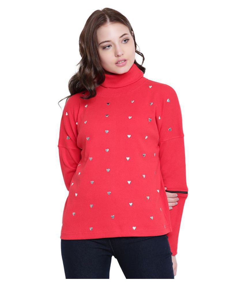 Texco Cotton Red Non Hooded Sweatshirt