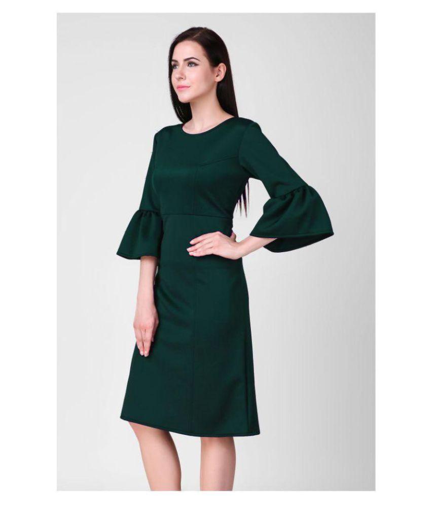 b8e6099630db Sloppins Scuba Green Bodycon Dress - Buy Sloppins Scuba Green ...