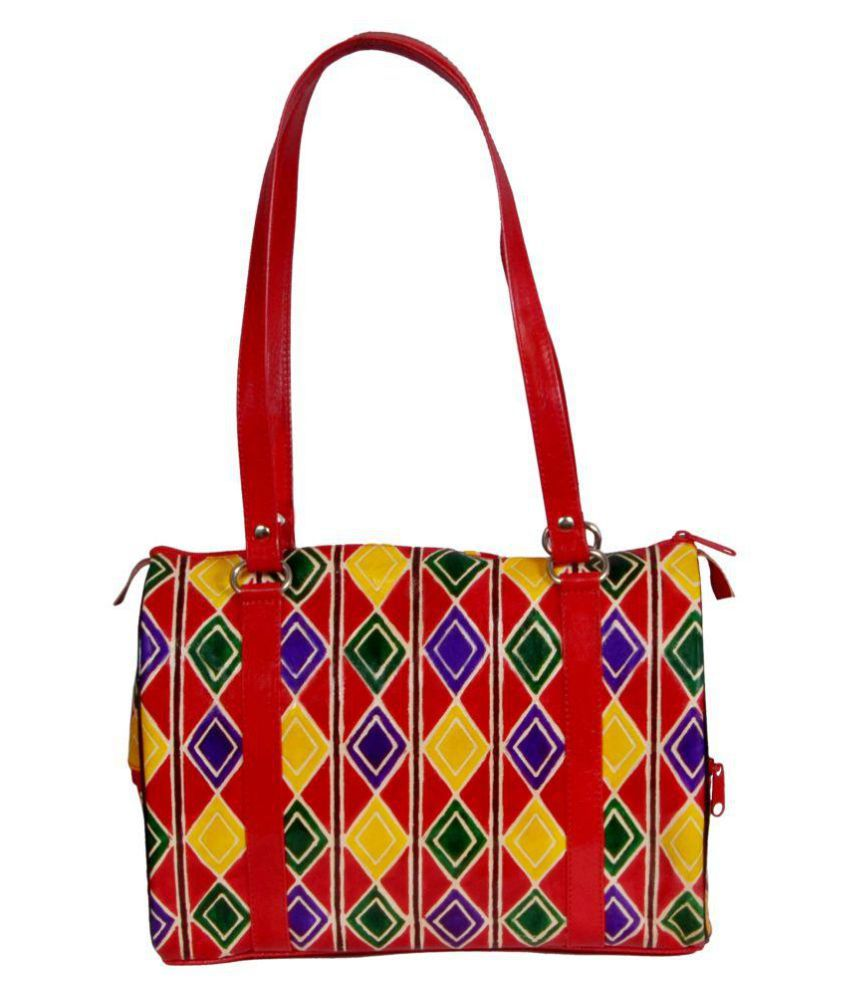 Zint Red Pure Leather Tote Bag