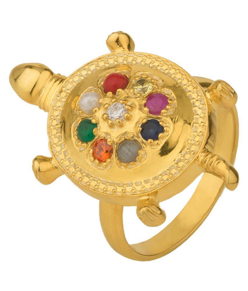 Dare by Voylla Navratan Gold-Plated Tortoise Motif Statement Ring