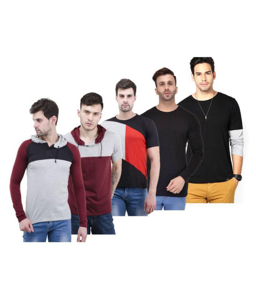 Lime Black Full Sleeve T-Shirt Pack of 5