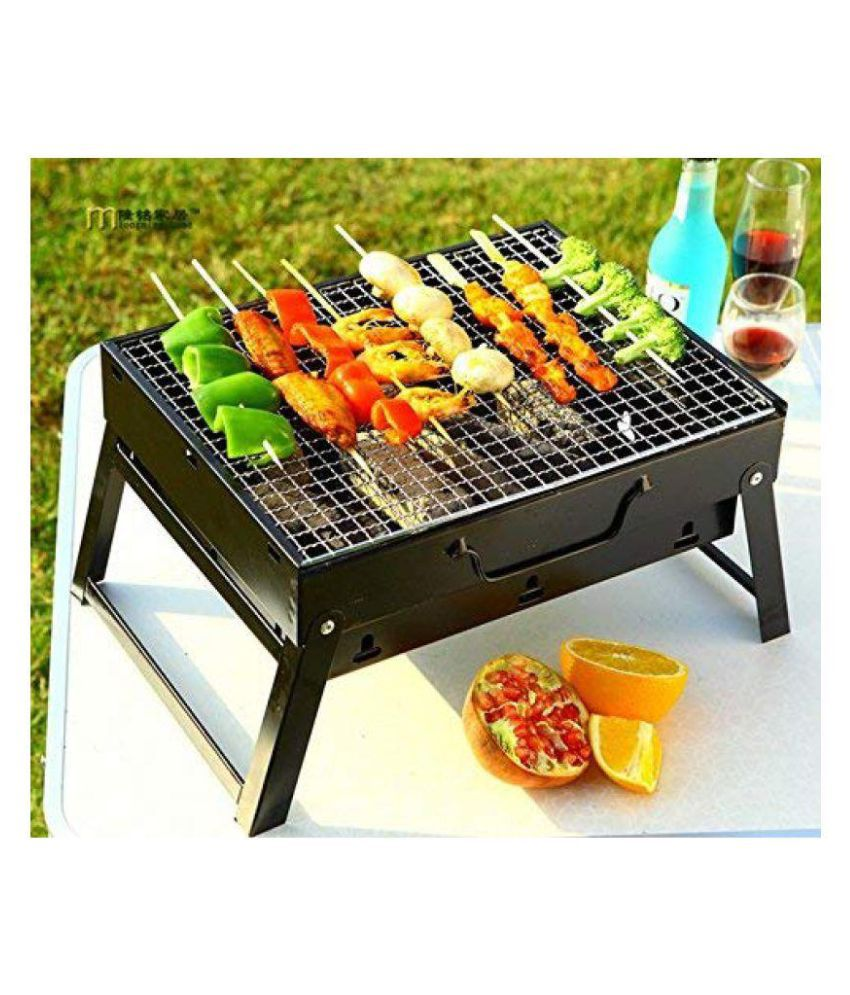 okayji folding portable charcoal bbq briefcase style barbecue grill rh snapdeal com