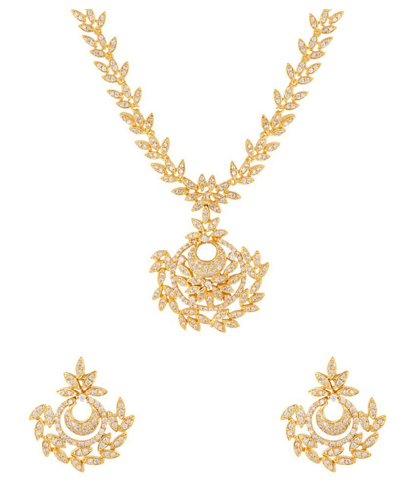 116c2039f666e Voylla Brass Golden Contemporary Designer Gold Plated Necklaces Set With  Free 1 Gm Silver Chain