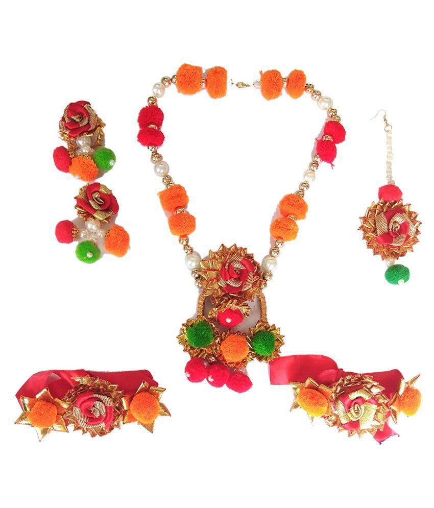 unique indian craft Handmade Gota Pati Full Jewelry Set Necklace/ Earring/ Mangtika/ hathphool for women /girls