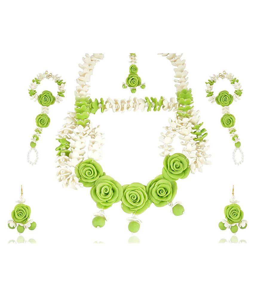 unique indian craft Handmade procelian work  Full Jewelry Set Necklace/ Earring/ Mangtika/ hathphool for women /girls