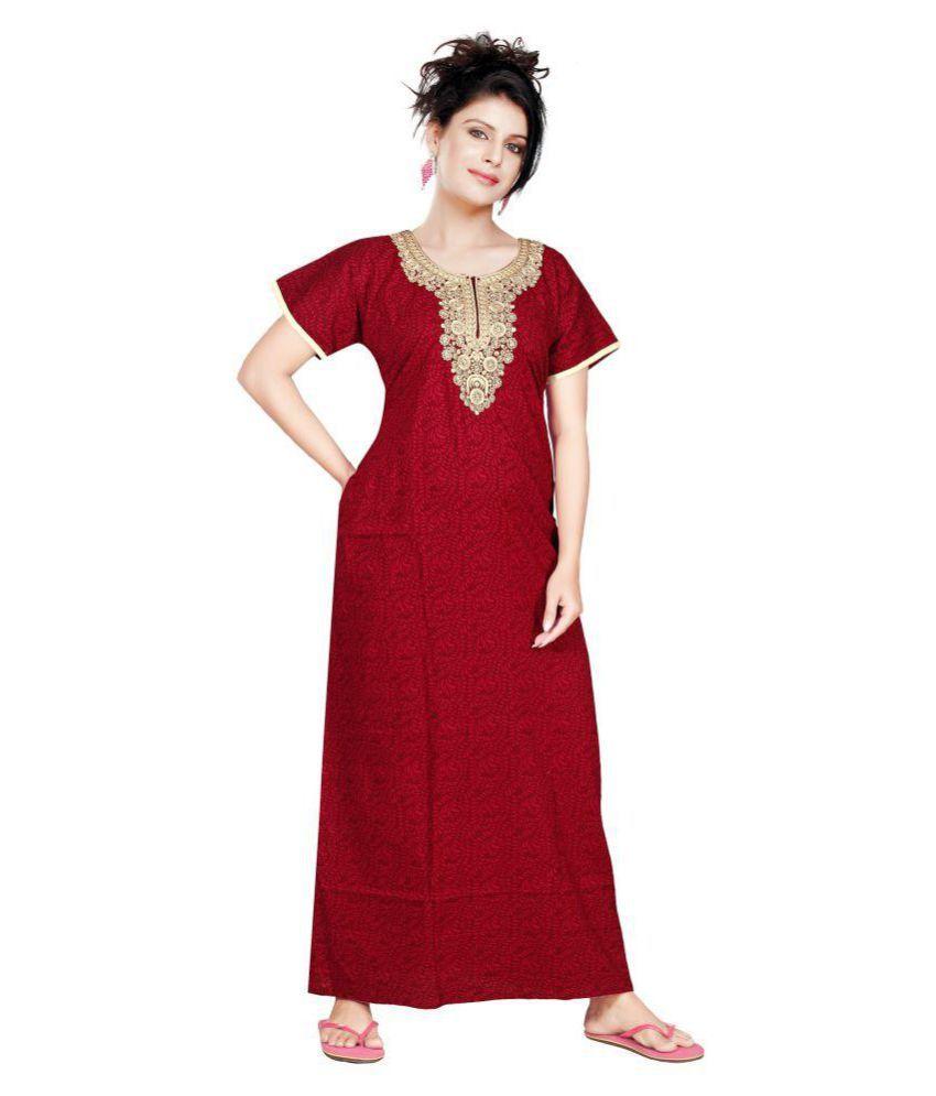 Satyam Nighties Cotton Nighty & Night Gowns - Maroon