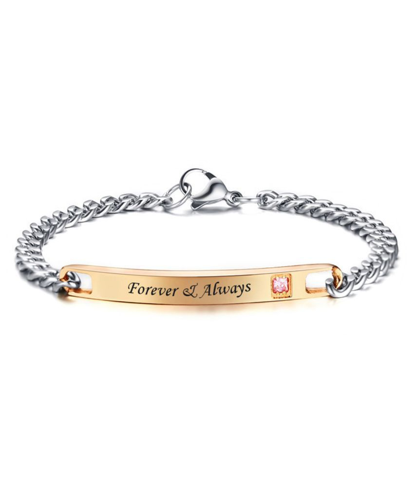 ZIVOM® Stylish Forever Always Rose Gold Silver 316L Surgical Stainless  Steel Id Couple Lovers Bracelet Men Women