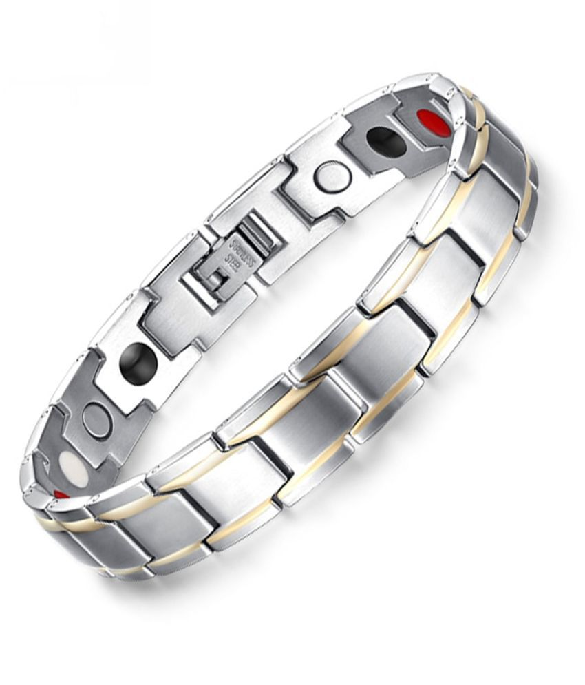 ZIVOM® Stylish Italian Glossy Gold Rhodium 316L Surgical Stainless Steel Magnet Health Care Therapy Bio Energy Bracelet Men Boy