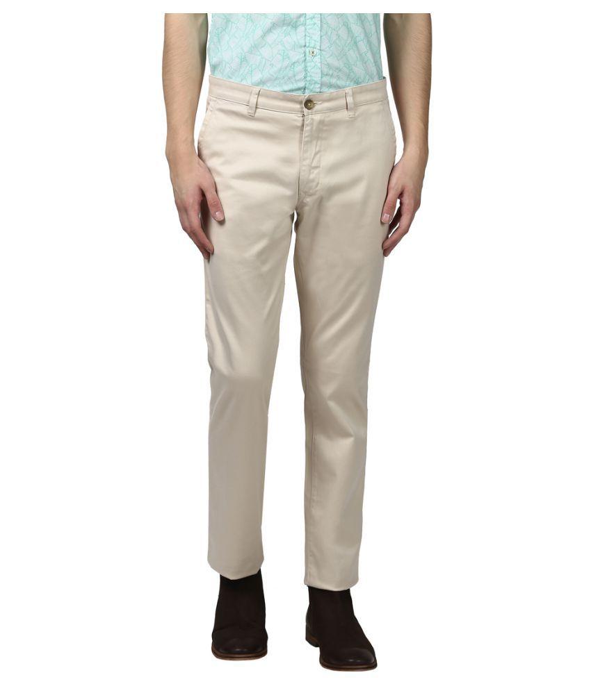 Colorplus Brown Slim -Fit Flat Trousers