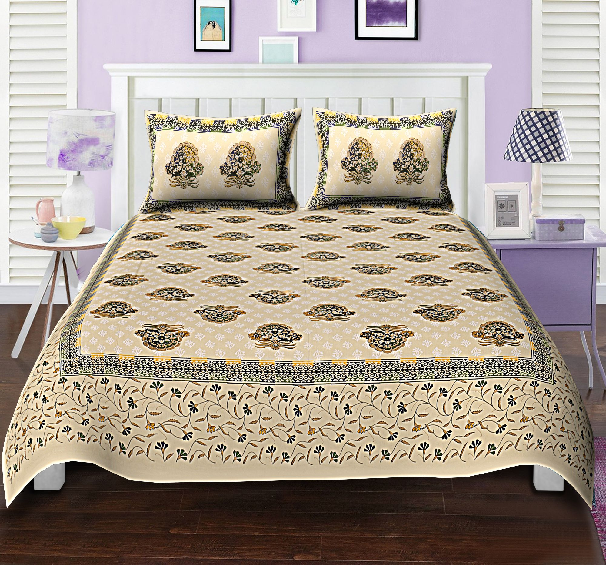 Uniqchoice Cotton King Size Bed Sheet With 2 Pillow Covers