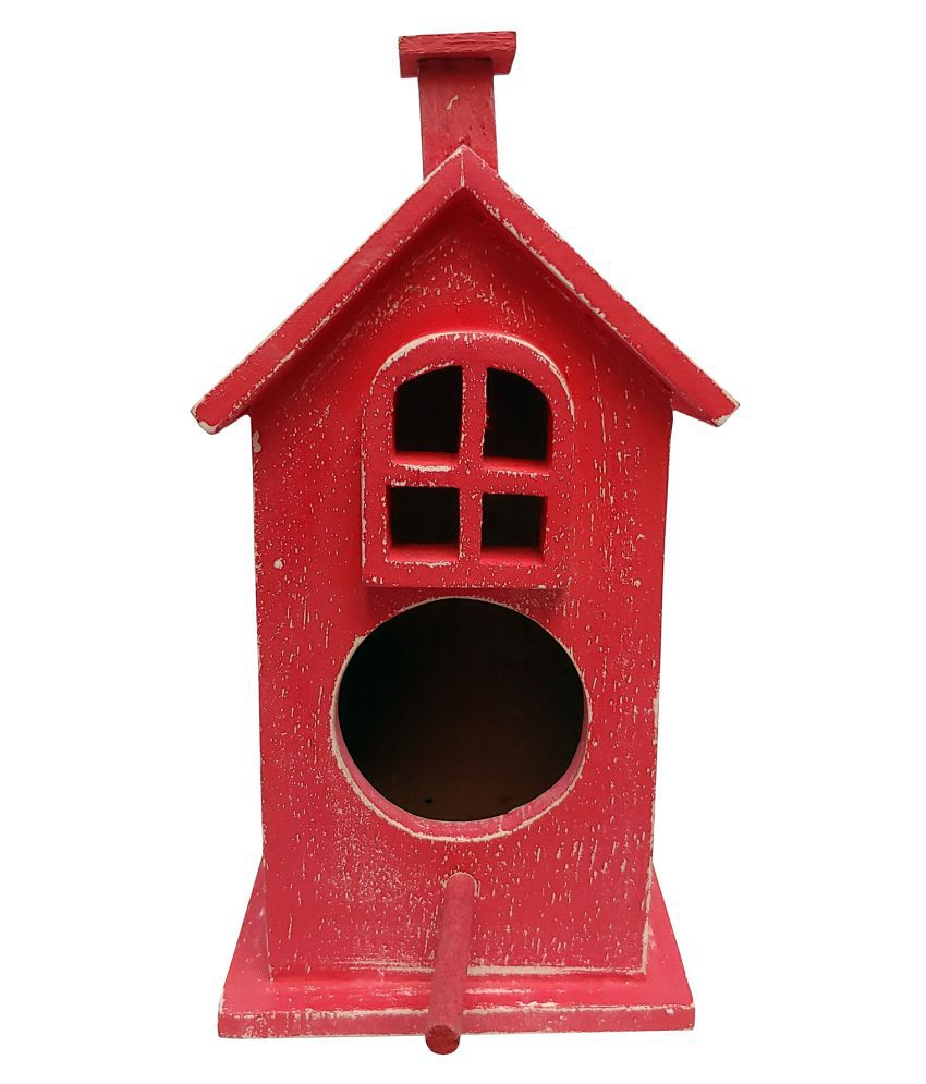 The Urban Store Decorative Hand Crafted Wooden Bird House, Bird House Nest Box for Sparrow, Budgies and Finches for Bird Breeding