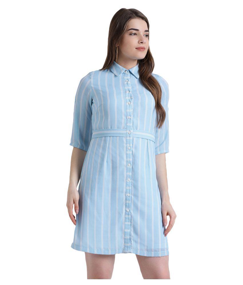 Zink London Polyester Blue Shirt Dress