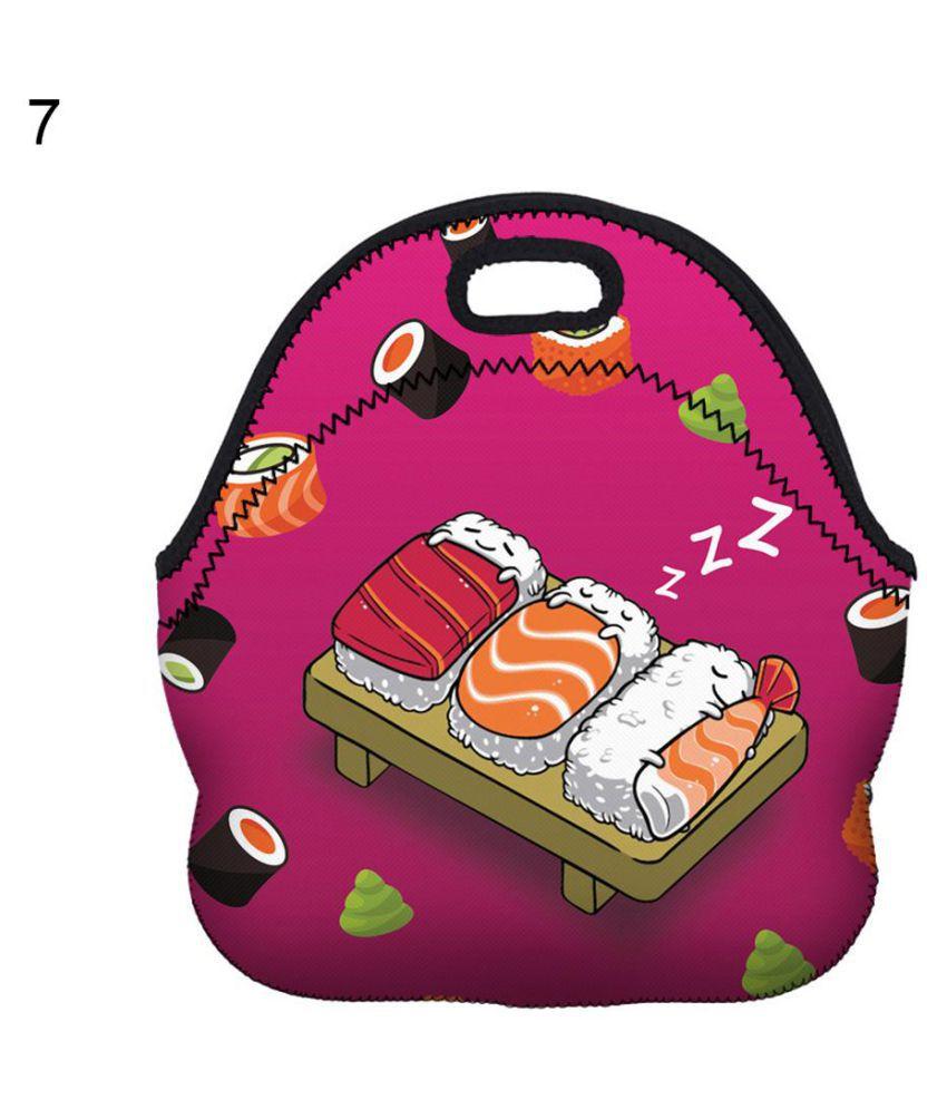 Kids Lunch Bag Thermal Insulated Cooler Cartoon Unicorn Print Zipper Tote Bag