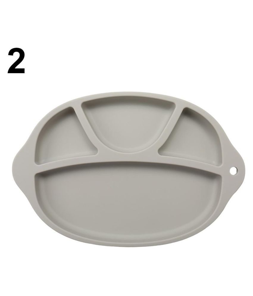 Portable Kids Baby Toddler Divided Plates Soft Unbreakable Safe Fruit Dish Plate