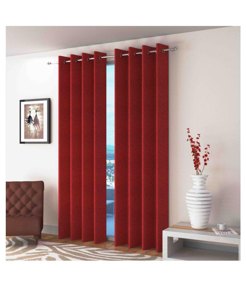 Swarnadeep Set of 2 Door Semi-Transparent Eyelet Jute Curtains Maroon
