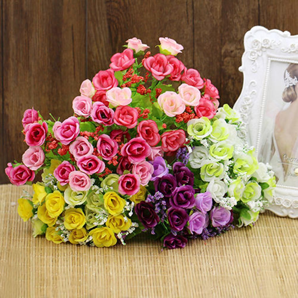 dfbab957d7be ... 1 Bouquet 21 Heads Artificial Fake Rose Flower Wedding Party Home  Decoration ...