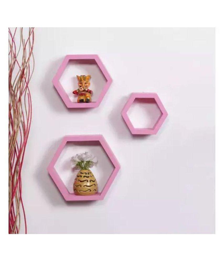 Onlineshoppee Floating Shelves Pink MDF - Pack of 3