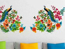 Stickerskart Multicolor Peacock Birds On Colourful Branch Leaves Wall Design Sofa Background Vinyl Wall Stickers (140 x 55 cms)