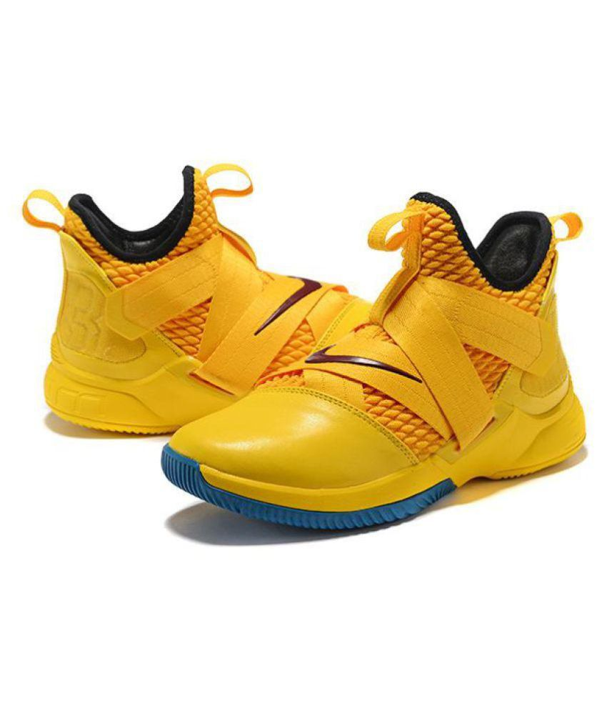 sports shoes 94f32 edfea Nike LeBron Soldier 12 Yellow Blue Midankle Male Yellow