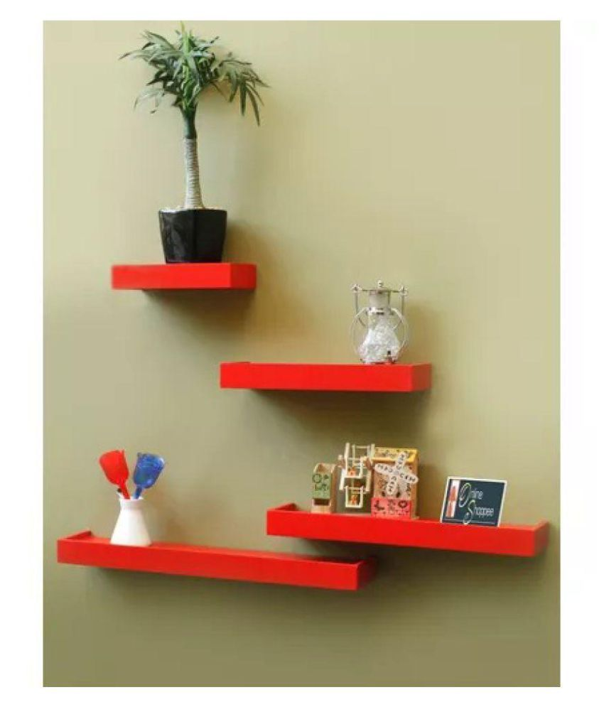 Onlineshoppee Floating Shelves Red MDF - Pack of 4