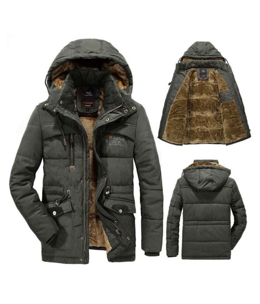 93604f974 Men's Padded Puffer Jacket Faux Fur Hooded Duck Down Coat Quilted Bubble  Parka