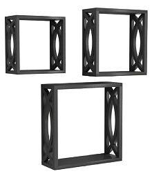 Aafiya Handficrafts Floating Shelves Black MDF - Pack of 3