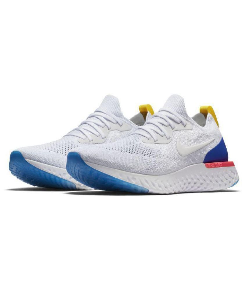 another chance 601a5 85a7c Nike Epic React Flyknit White Running Shoes