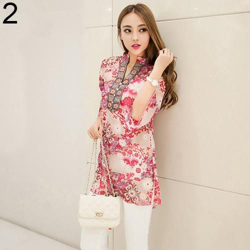 Buy Women's Fashion Summer Korean Style Ethnic Loose Chiffon Blouse