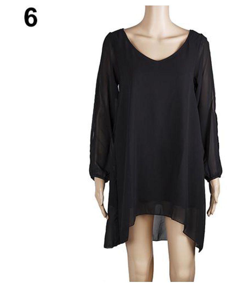 Women's Sexy V-neck Split Long Sleeve Chiffon Loose Irregular Hem Mini Dress