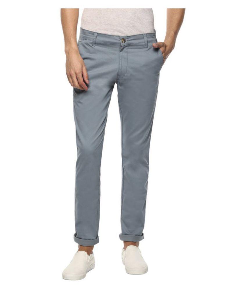 Disha Light Blue Regular -Fit Flat Trousers