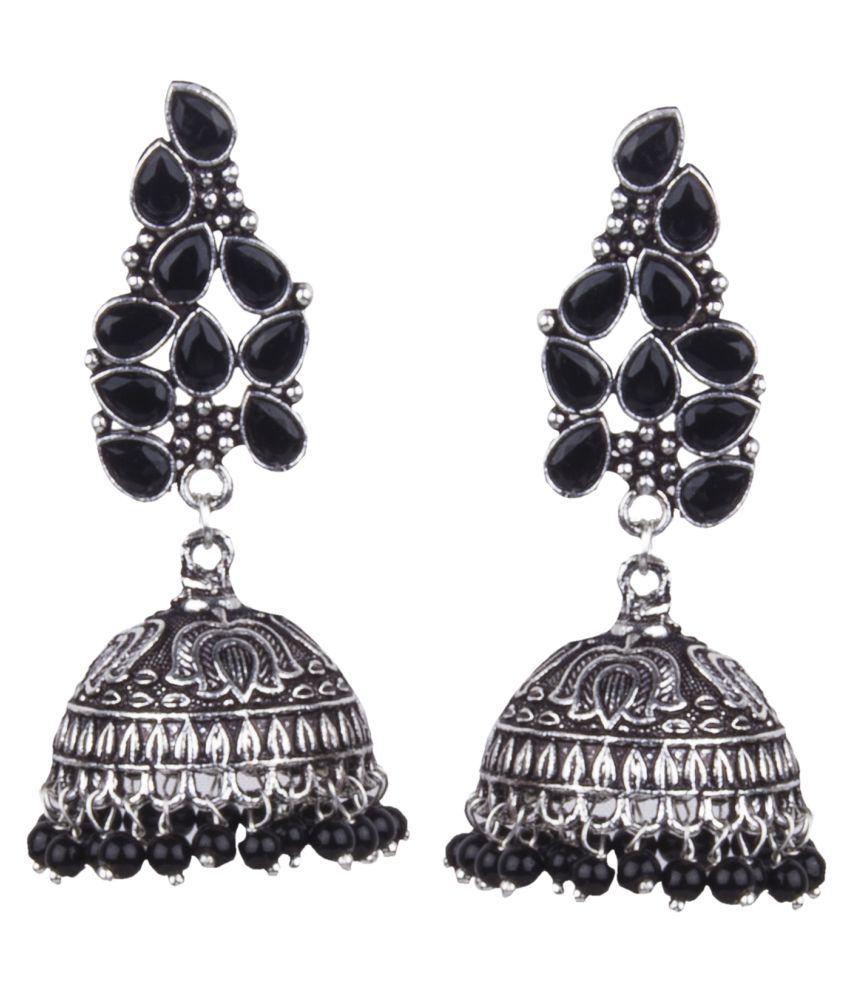 Piah Fashion Classy  German Silver Lotus Design Beaded Dangling Jhumkhi For Women and Girls