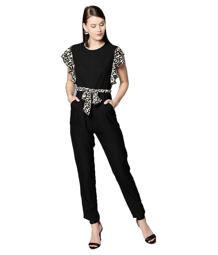 Besiva Black Polyester Jumpsuit