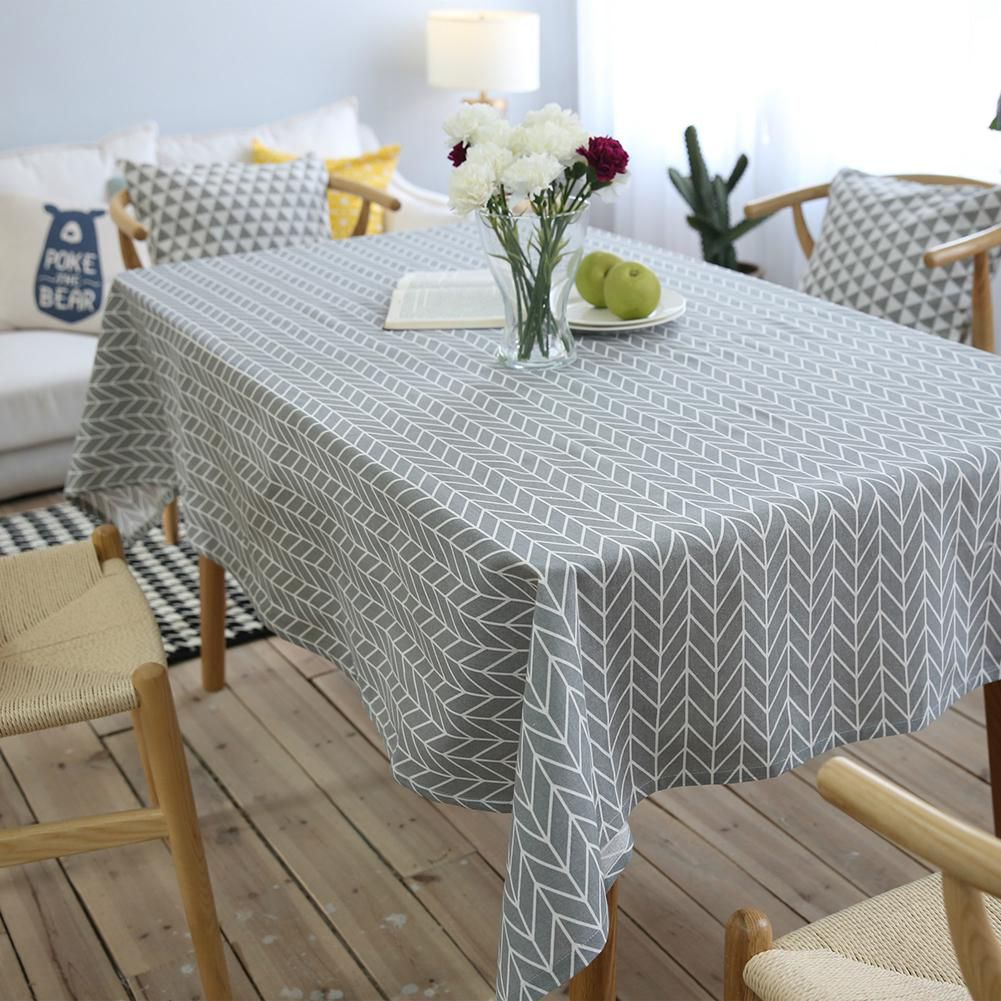 Snapdeal & Home Restaurant Decor Cotton Linen Table Cover Geometric Pattern Tablecloth