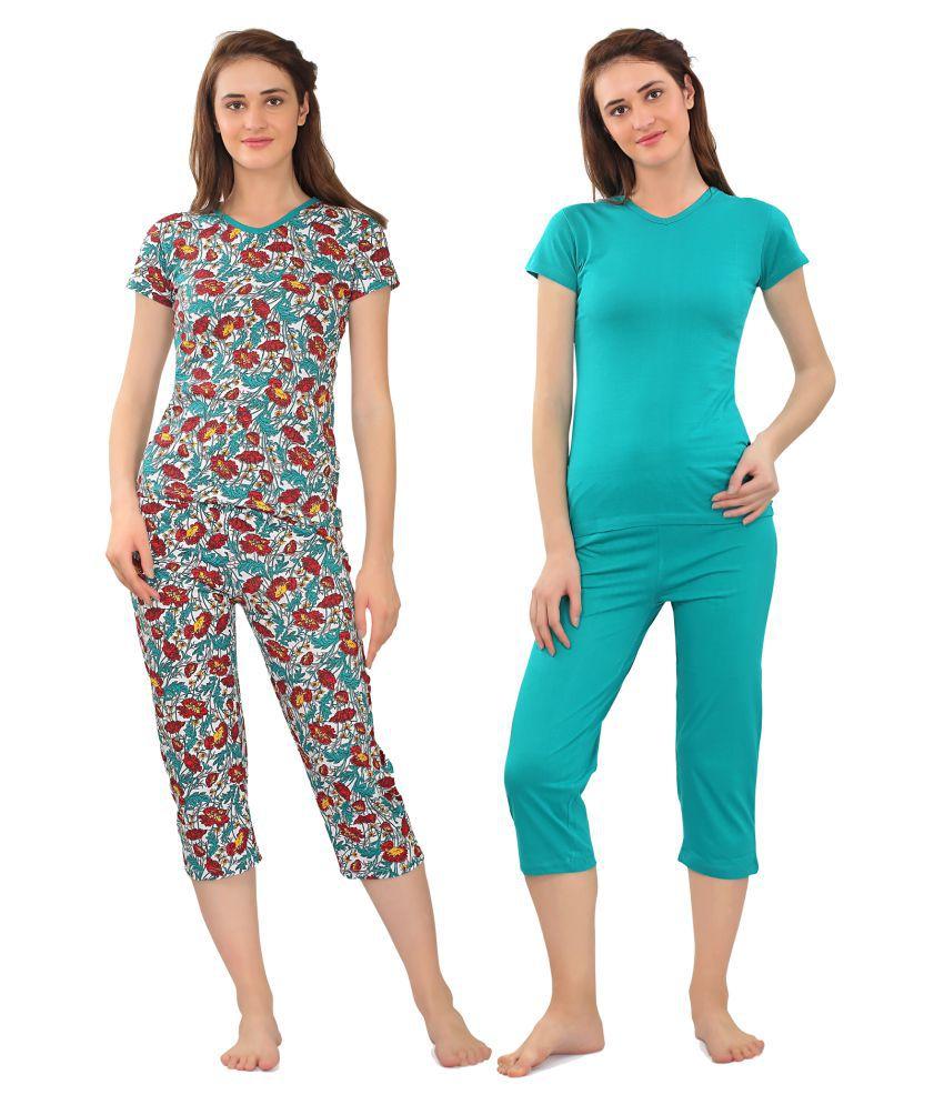 Zebu Cotton Nightsuit Sets - Multi Color