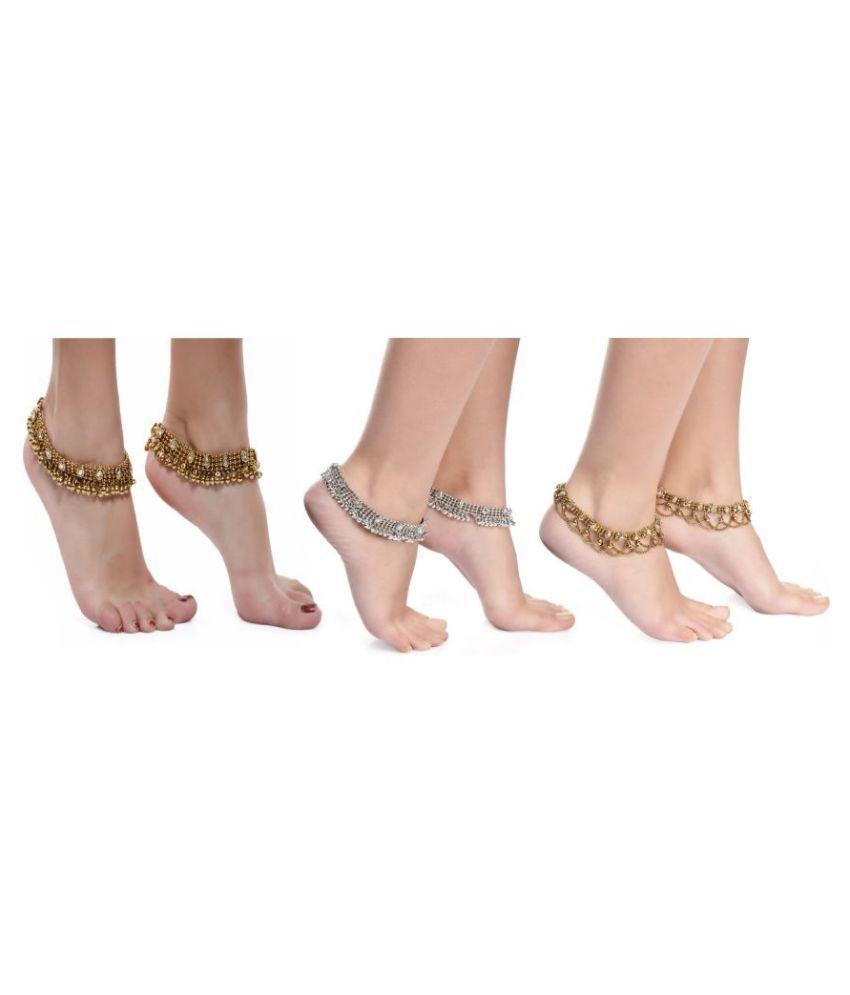 Dipali Golden Ethnic Antique Kundan Studded Alloy Anklet and Silver Ethnic Kundan Alloy Anklet and Goldan Anklet Combos